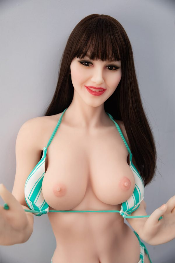 Nell 168cm realistic European sex doll, posing with her panties down and her bra off, showing off her breasts, waist up view